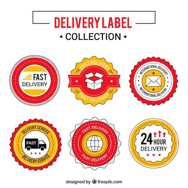 Pacote clássico de etiquetas de entrega coloridas Vetor grátis
