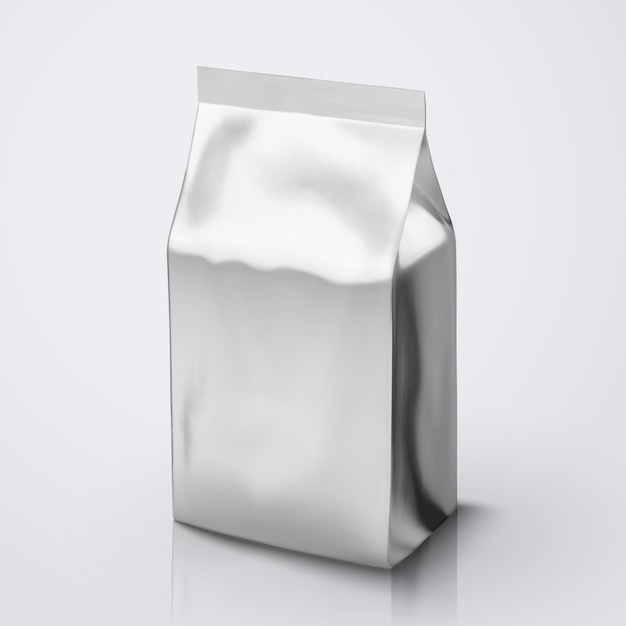 Pacote coffee bean, pacote de folha de prata na ilustração para uso Vetor Premium
