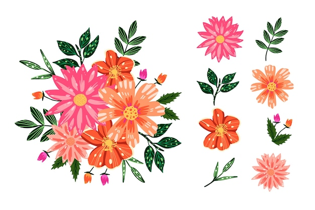 Pacote colorido de buquê floral 2d Vetor grátis