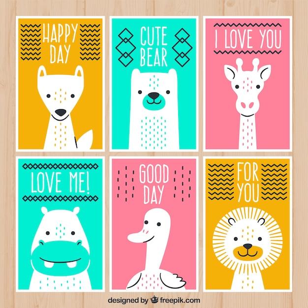 Pacote colorido de cartões com animais selvagens Vetor grátis