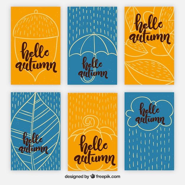 Pacote colorido de cartões de outono Vetor grátis
