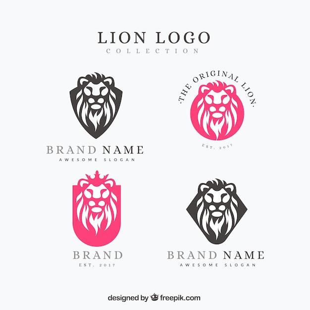 Pacote colorido de logotipos de leão Vetor grátis