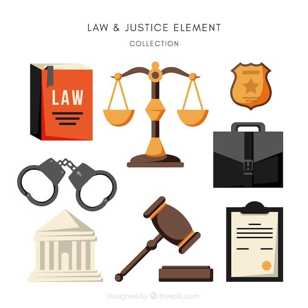 Pacote completo de elementos de lei e justiça Vetor grátis