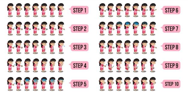 Pacote conjunto ilustração de personagens de meninas muçulmanas que estão realizando wudu com passo a passo. Vetor Premium