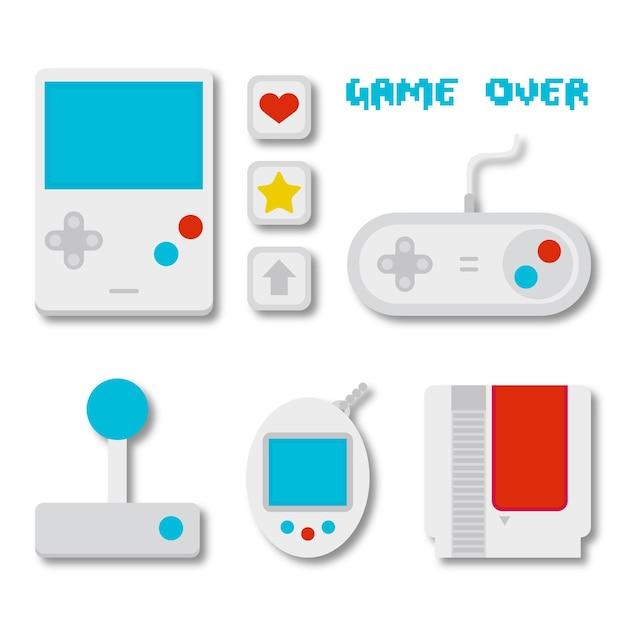 146be4c397f2 Pacote de acessórios de videogames no design plano | Baixar vetores ...