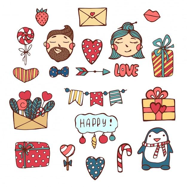 Pacote de adesivos de amor com corações. mão desenhadas corações e palavras no estilo doodle. Vetor Premium