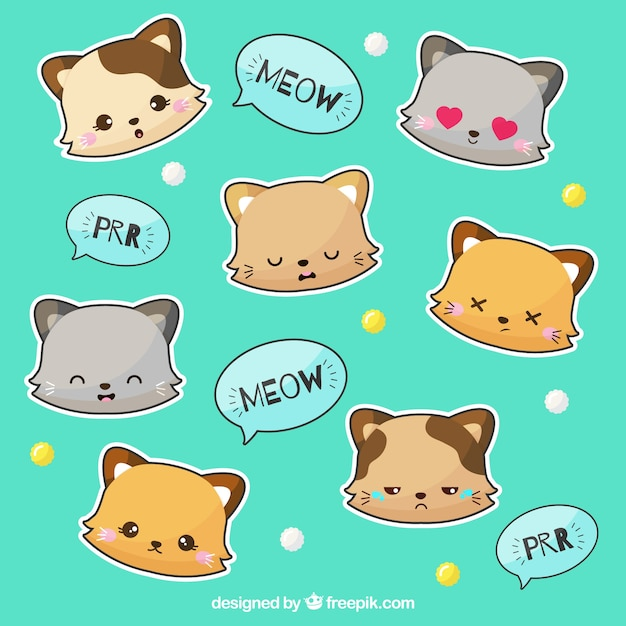 Pacote de adesivos de gato Vetor grátis