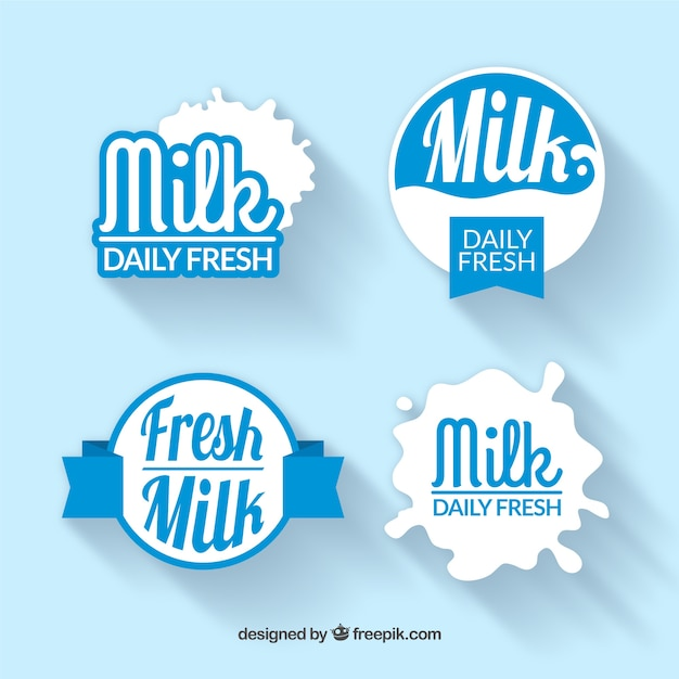 Pacote de adesivos de leite no estilo do vintage Vetor grátis