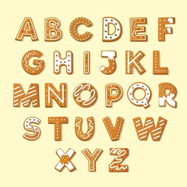 Pacote de alfabeto de natal de gengibre Vetor grátis