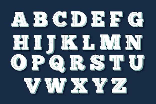 Pacote de alfabeto de natal vintage Vetor grátis