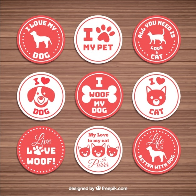 Pacote de amor adesivo com animais Vetor grátis