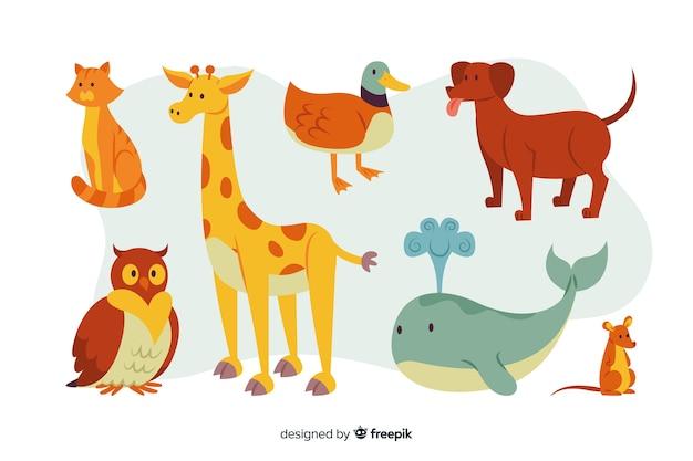 Pacote De Animais Coloridos Dos Desenhos Animados Vetor Gratis
