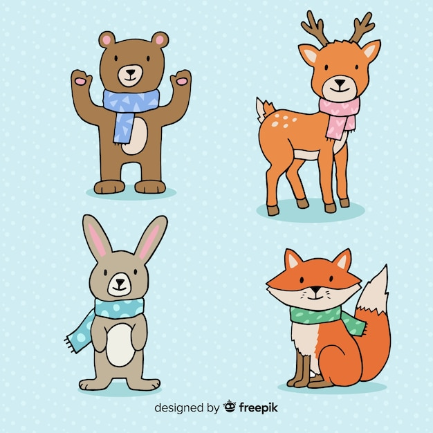 Pacote de animais da floresta dos desenhos animados Vetor grátis