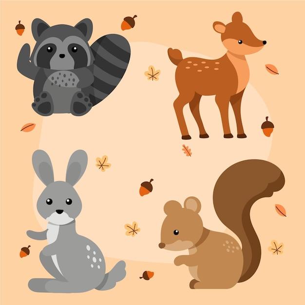 Pacote de animais da floresta outono desenhado à mão Vetor grátis