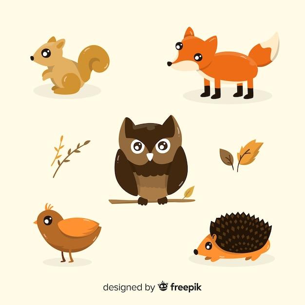 Pacote de animais de floresta de mão desenhada Vetor grátis