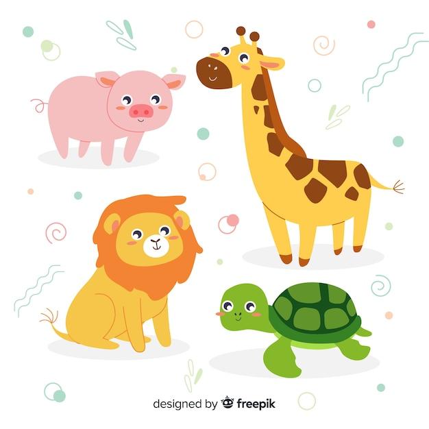 Pacote de animais doce em design plano Vetor grátis