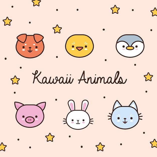 Pacote de animais kawaii com estrelas e linha de letras e ilustração de estilo de preenchimento Vetor Premium