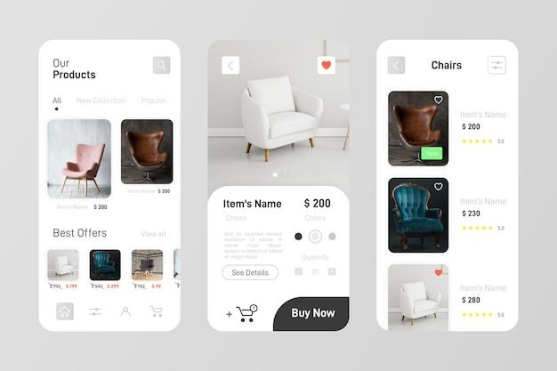 Pacote de aplicativos de compras de móveis Vetor grátis