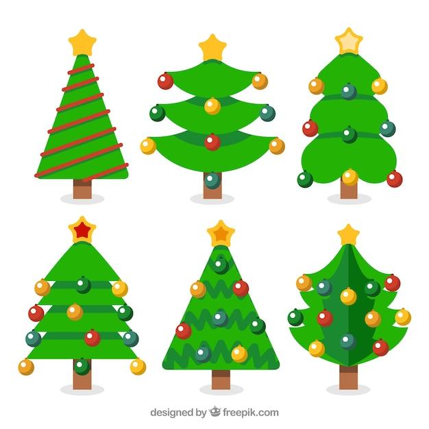 Pacote De árvore De Natal Com Bolas Coloridas