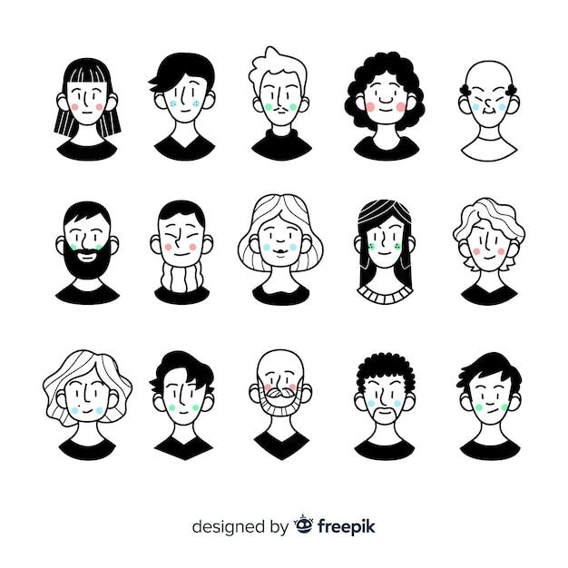 Pacote de avatar de pessoas dos desenhos animados Vetor grátis
