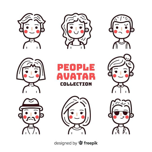 Pacote de avatar de pessoas incolores Vetor grátis