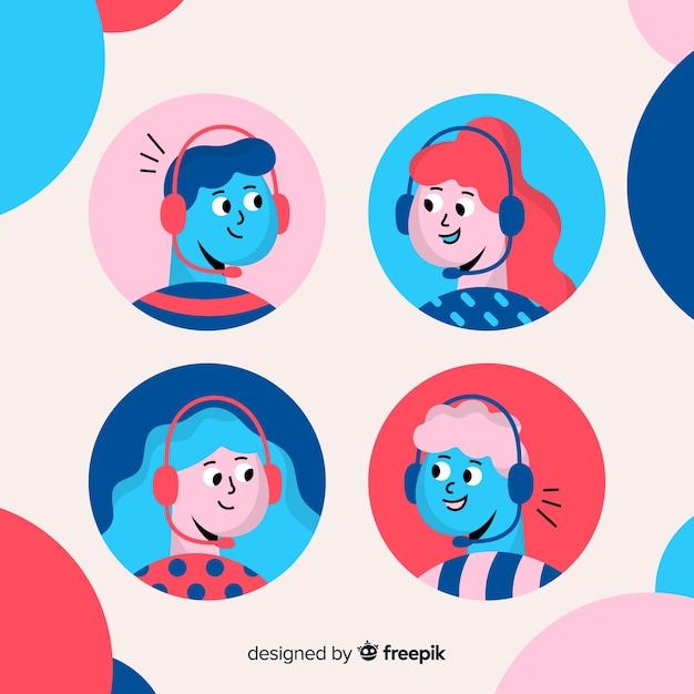 Pacote de avatares de call center Vetor grátis