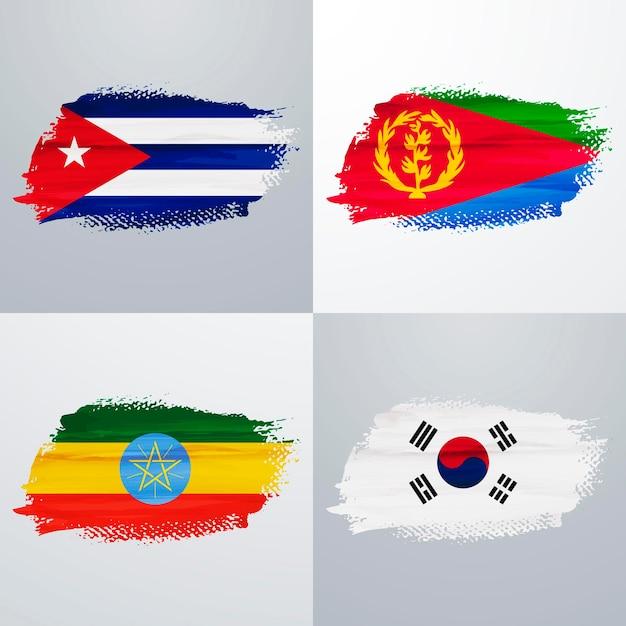 Pacote de bandeiras de cuba, eritreia, etiópia e coreia do sul Vetor Premium