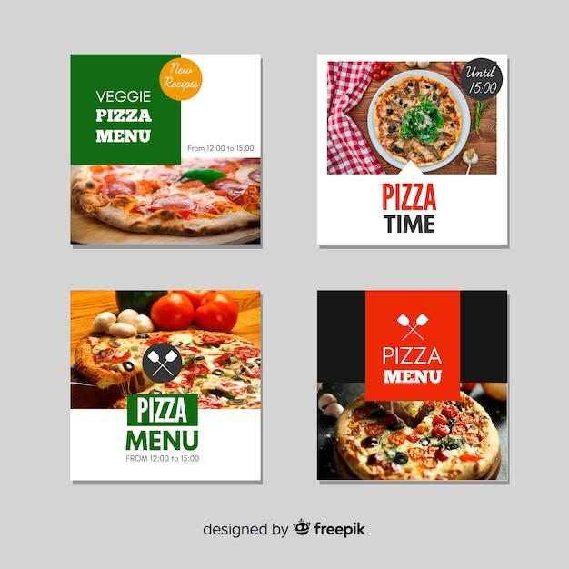 Pacote de banner de comida fotográfica plana Vetor grátis