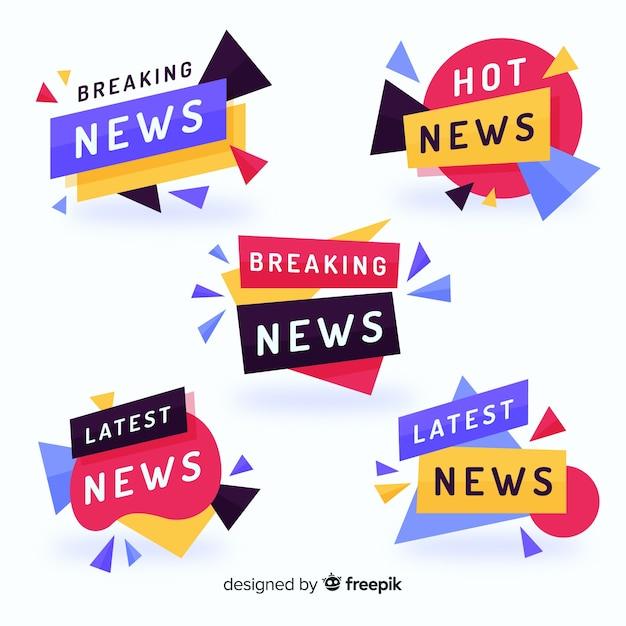 Pacote de banner de notícias mais recente colorido Vetor grátis