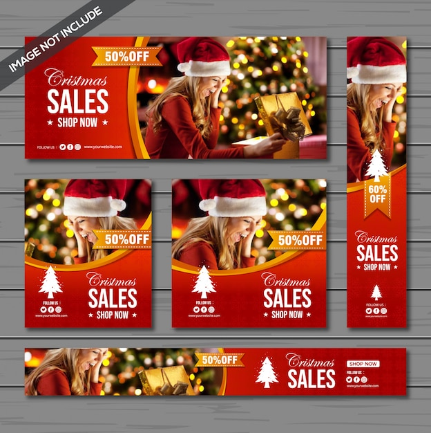 Pacote de banner de venda de natal Vetor Premium