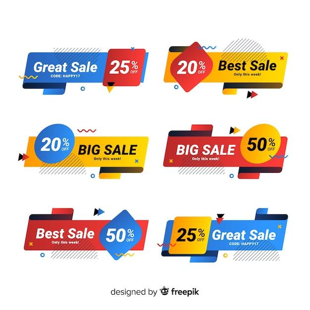 Pacote de banner de venda memphis colorido Vetor grátis
