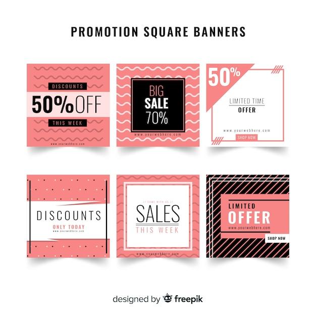 Pacote de banner de vendas de formas geométricas Vetor grátis