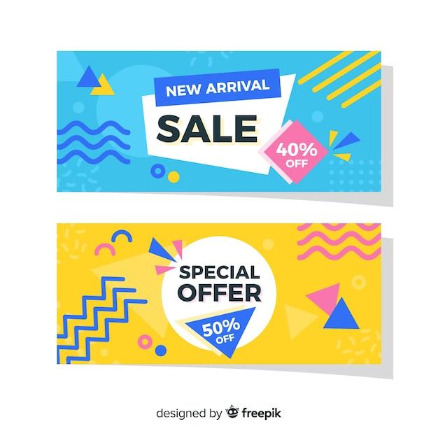 Pacote de banner de vendas de memphis Vetor grátis