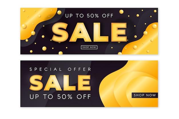 Pacote de banner de vendas dourado realista Vetor grátis