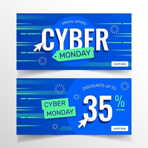 Pacote de banners cibernéticos de design plano Vetor grátis