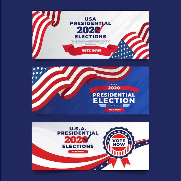 Pacote de banners das eleições presidenciais dos eua em 2020 Vetor grátis