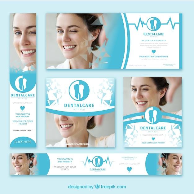 Pacote de banners de dentista Vetor grátis