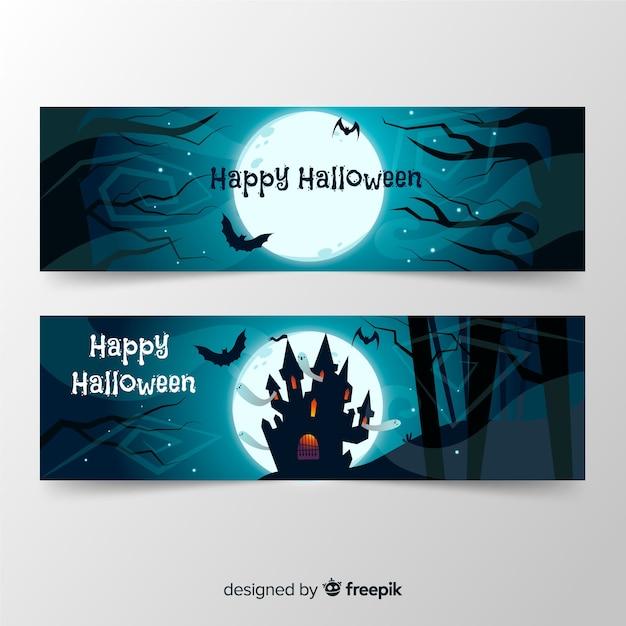 Pacote de banners de halloween de mão desenhada Vetor grátis