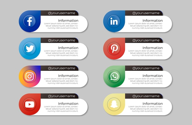 Pacote de banners de mídia social com mensagem Vetor grátis