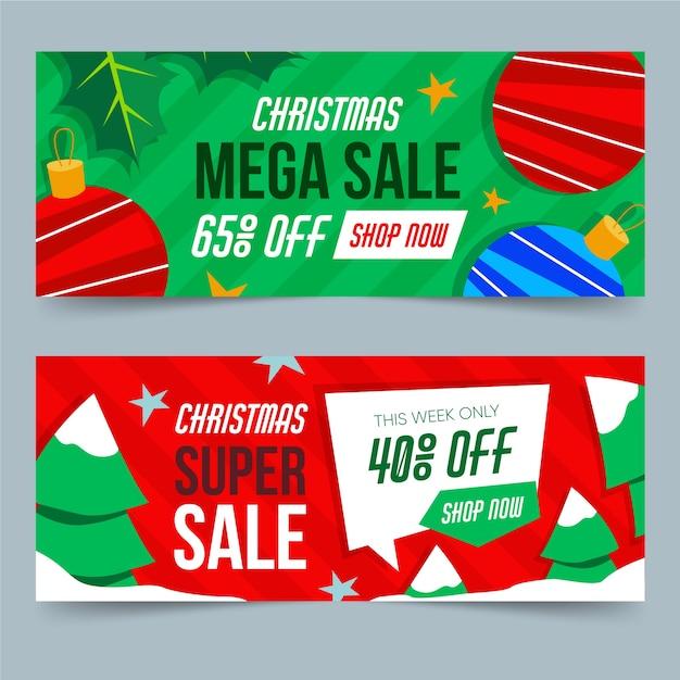 Pacote de banners de venda de natal desing plana Vetor grátis