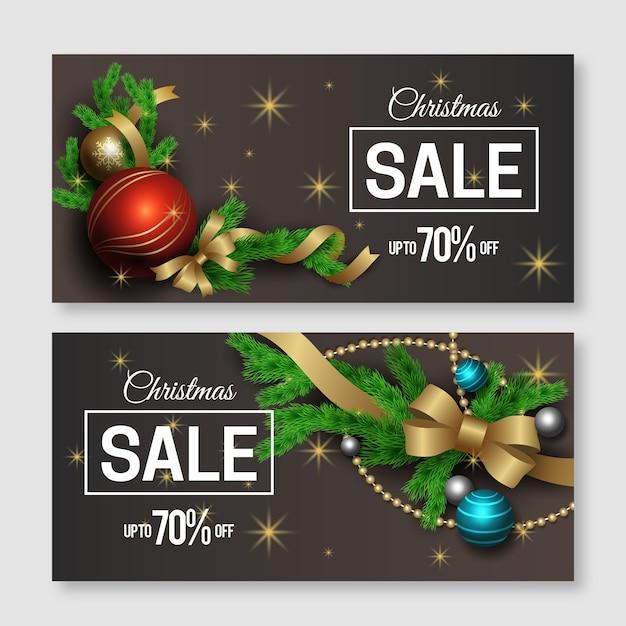 Pacote de banners de venda de natal realista Vetor grátis