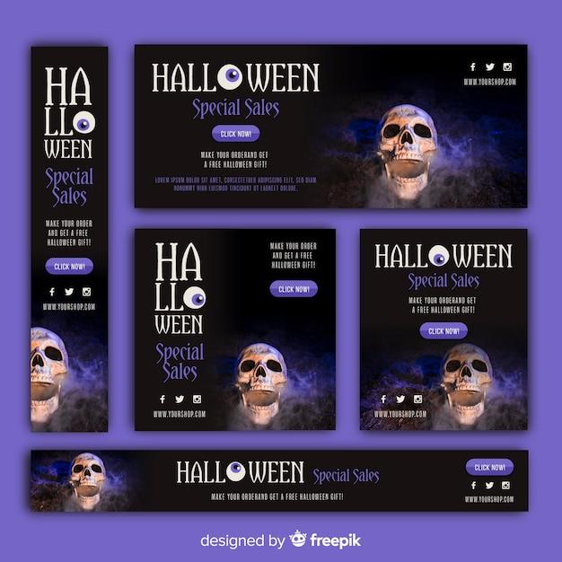Pacote de banners de venda de web de halloween com imagem Vetor grátis