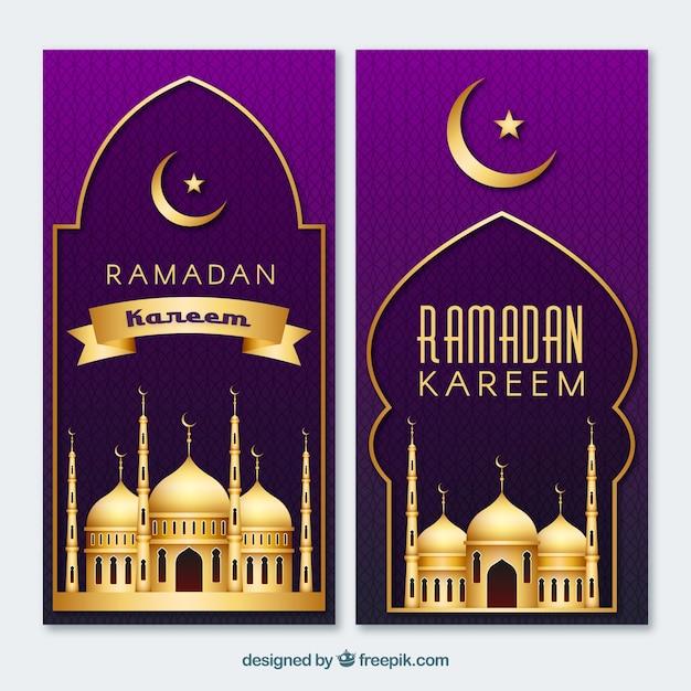 Pacote de banners do ramadã com mesquitas de ouro Vetor grátis