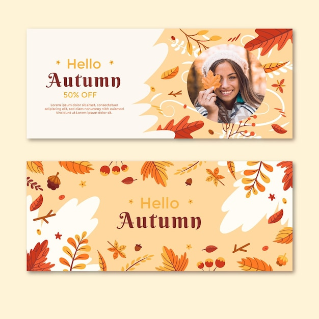 Pacote de banners horizontais no meio do outono Vetor Premium