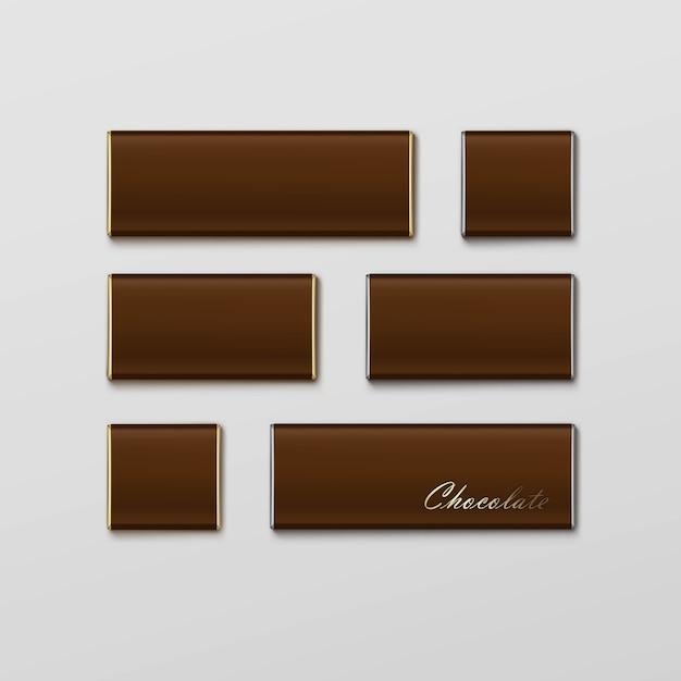 Pacote de barra de chocolate embalagem marrom pacote conjunto Vetor Premium