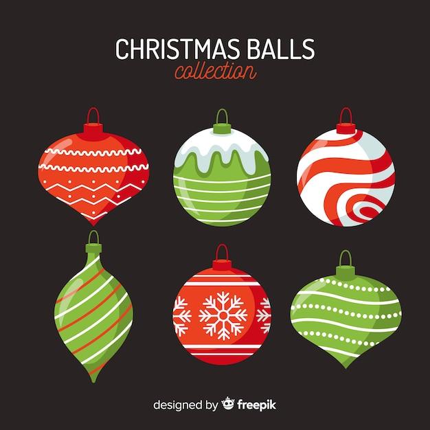 Pacote de bolas de natal de design plano Vetor grátis