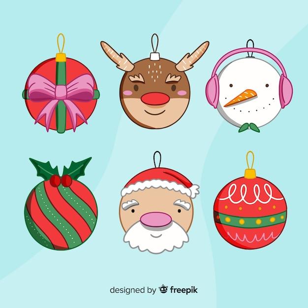 Pacote de bolas de natal de mão desenhada Vetor grátis