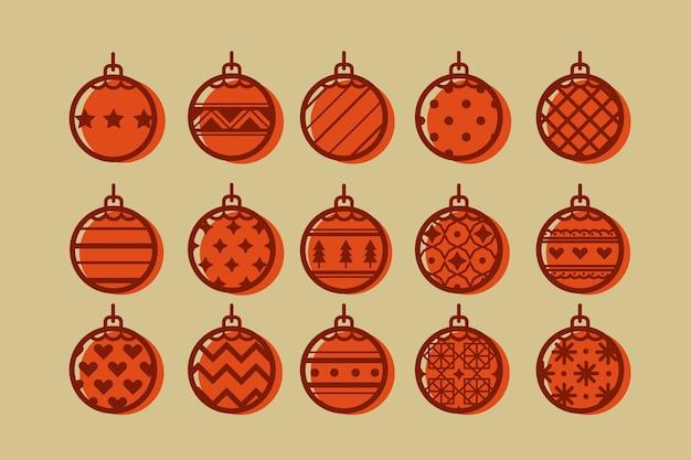 Pacote de bolas de natal em design plano Vetor grátis