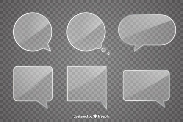 Pacote de bolha de discurso de vidro realista Vetor grátis