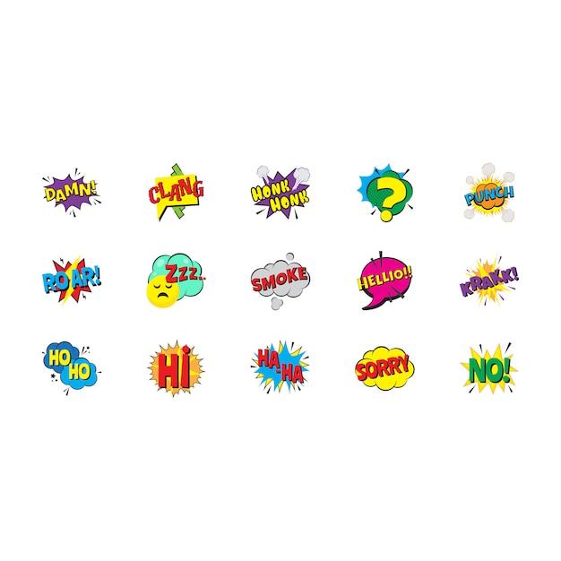 Pacote de bolhas de arte pop em quadrinhos Vetor Premium